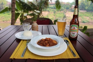 A beer Lao with curry in Laos