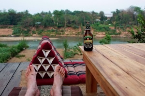 Enjoying a Beer Lao Dark in Luang Prabang, Laos