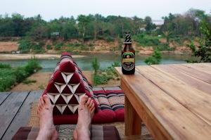 Enjoying a Beer Lao Dark in Luang Prabang, Laos