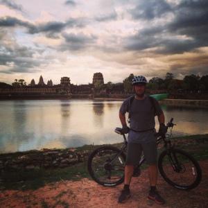 Scott enjoying a sunset ride at Cambodia's Angkor Wat