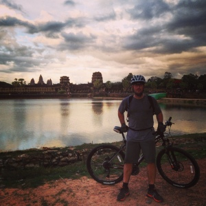 Scott enjoying a sunset ride at Cambodia's Angkor Wat