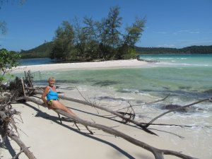 Trevor's Mom relaxing at Koh Rong, Cambodia