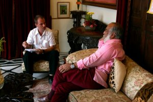 Interviewing Arvind Singh, Maharana of Udaipur, Rajasthan, India, for LIV Magazine, 2008. Photo by Luke Duggleby