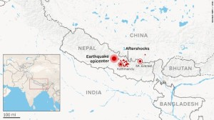 Location of earthquake and subsequent aftershocks in Nepal