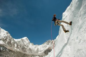 Abseiling training near Everest Base Camp; photo courtesy Alex Treadway