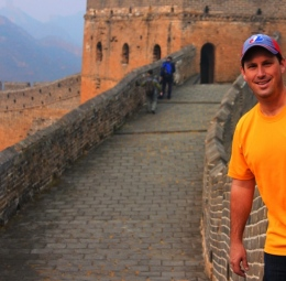 Scott hiking the Great Wall of China