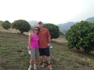 Scott & his wife hiking at Doi Mae Salong, Thailand