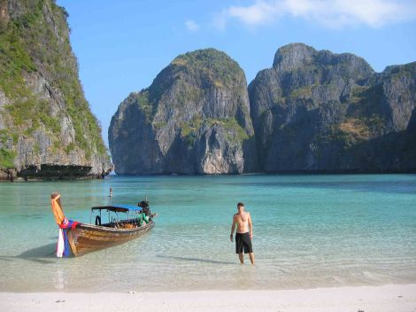 Trevor Ranges at Maya Bay Phi Phi Thailand for Talk Travel Asia Podcast