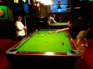 Shooting Pool in Bangkok at Bullys for Talk Travel Asia Podcast