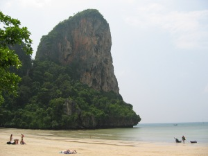 Relatively uncrowded Railey Beach Krabi on Talk Travel Asia Podcast Asia then and now
