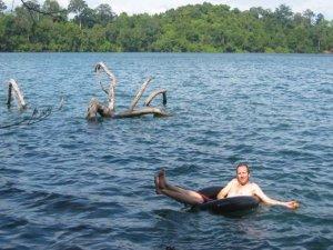 Trevor Ranges Floating on Yak Laom, Ratanakiri Cambodia