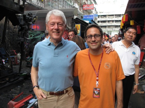 Chris Lowenstein with Bill Clinton on the set of The Hangover II - photo courtesy of Chris Lowenstein for Talk Travel Asia Podcast