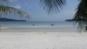 Shallow but crystal clear waters at Cambodia's Saracen Bay, Koh Rong Sanloem on Talk Travel Asia Podcast about Cambodia beaches and islands