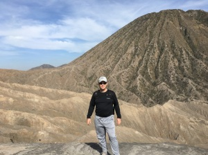 Scott atop Mt. Bromo Indonesia Talk Travel Asia podcast
