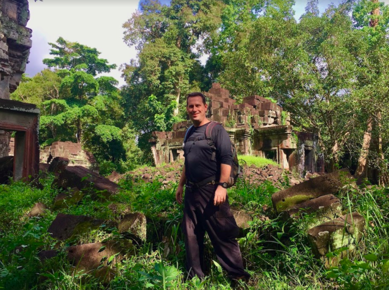 Scott Coates at Preah Khan temple in Kompong Svay Cambodia